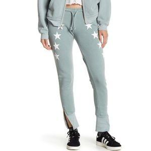 WILDFOX Cosmos Star Print Ankle Zip Pants Cadet